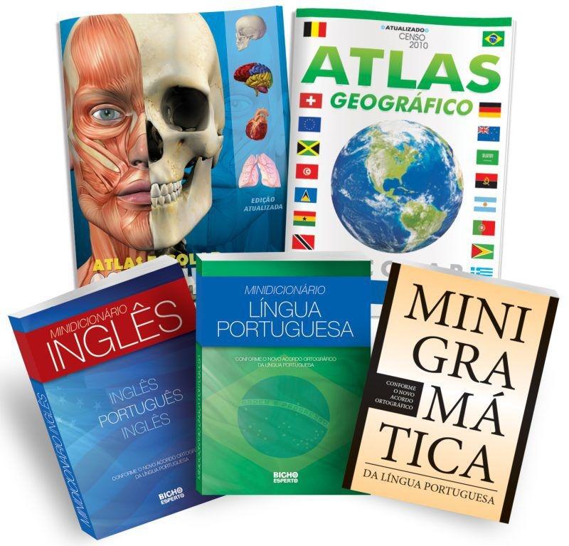 Kit Escolar 6 em 1 - (2 atlas + 2 dicionários + 1 minigramática + DVD)