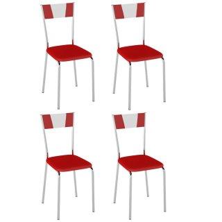 Cadeira Detalhe Branco 4 Unidades PC15B - Pozza