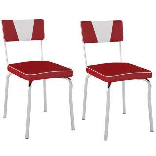 Cadeira Retrô Detalhe Branco PC13 2 Unidades - Pozza