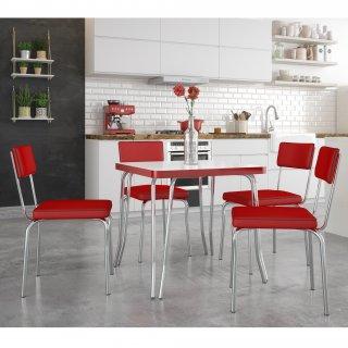 Conjunto de Mesa Retrô PM14 e 4 Cadeiras PC13 - Pozza