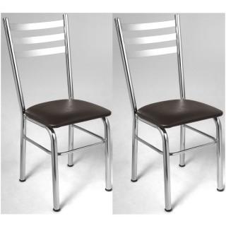 Kit 2 pçs Cadeira de Jantar CA8214 Cromada - Pozza