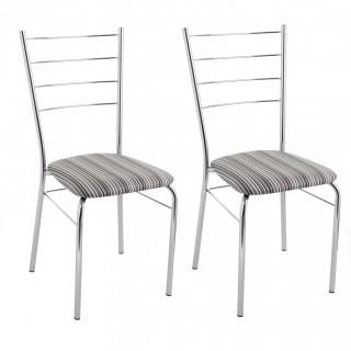 Kit 2 pçs Cadeiras de Jantar CA8218 Cromada - Pozza