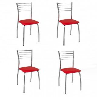 Cadeiras de Jantar CA8105 Cromada 4 Unidades - Pozza