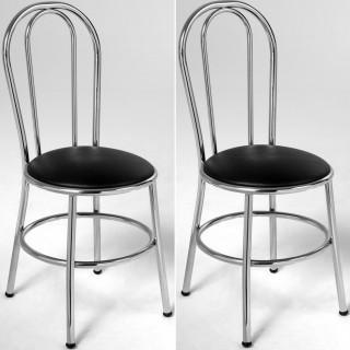Kit de 2 pçs Cadeira de Jantar CA8101 Cromada - Pozza