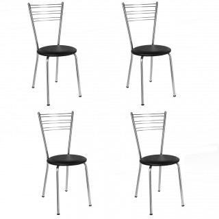 Kit de 4 pçs Cadeiras de Jantar CA8174 Cromada - Pozza