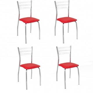 Kit de 4 pçs Cadeiras de Jantar CA8208 Cromada - Pozza