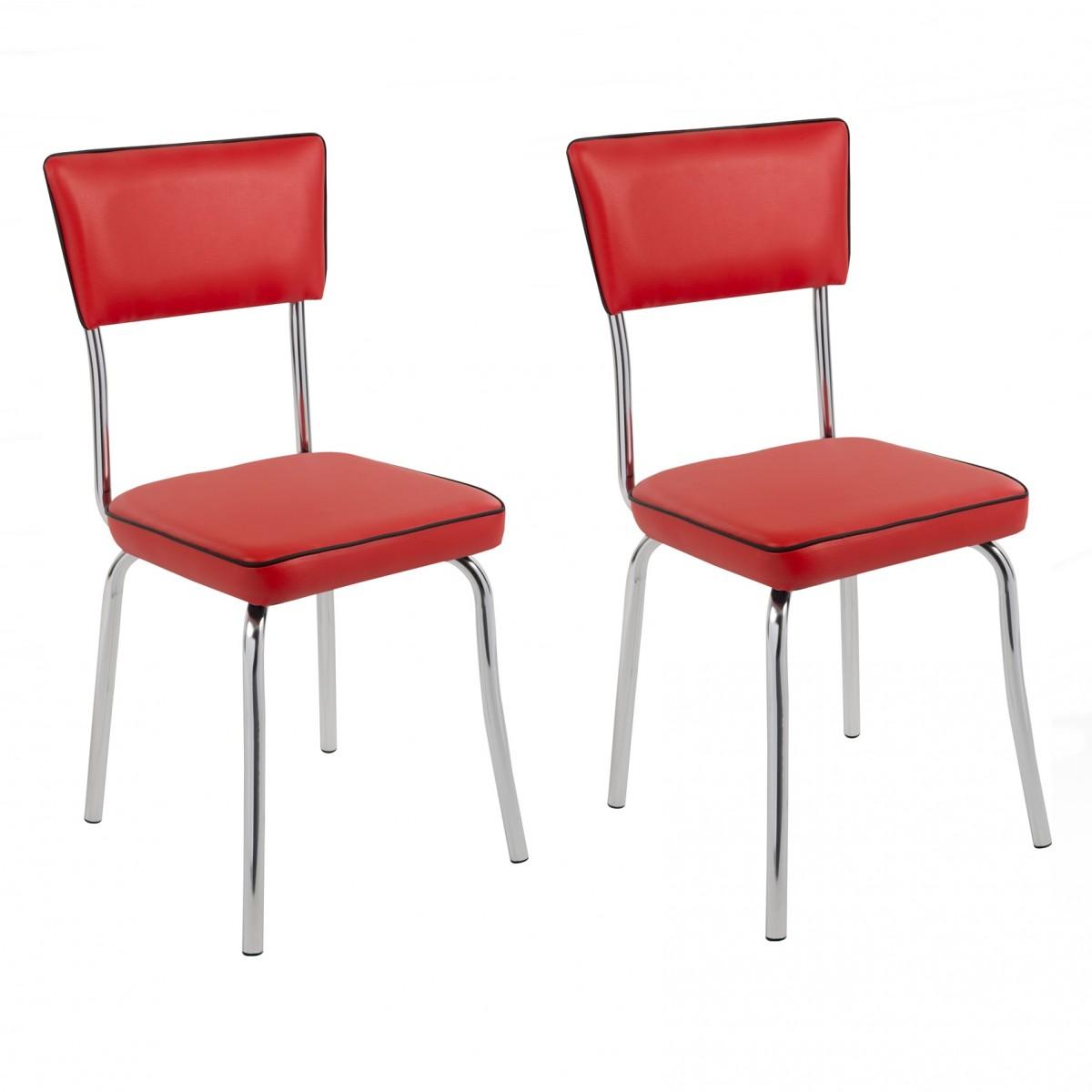 Compre Kit 2 P S Cadeira Retr Cromada Cp2030 Plus Pozza Vinil