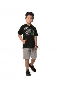 Imagem - Conjunto Infantil Angerô Camiseta Com Capuz E Bermuda cód: 16855014