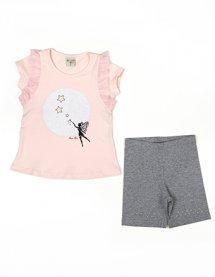 Imagem - Conj Infantil Blusa Cotton e Short Ciclista Fada Com Gliter cód: 16514003
