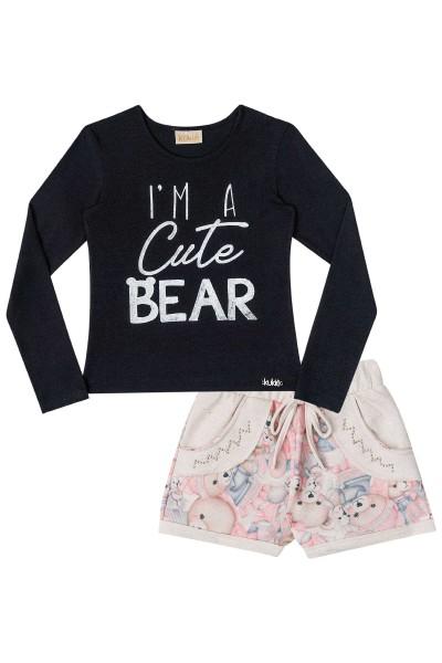 Imagem - Conjunto Kukiê Blusa e Short Cute Bear  cód: 15208014
