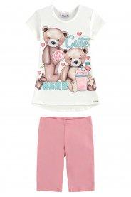 Imagem - Conjunto Infantil Blusa e Bermuda Cute Bear Kukiê cód: 17629007