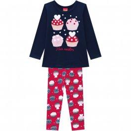 Imagem - Conjunto Infantil Blusa e Legging Kyly Cupcake cód: 17185006