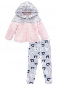 Imagem - Conjunto Infantil Casaco Pelo e Legging Urso Kukiê  cód: 17324003