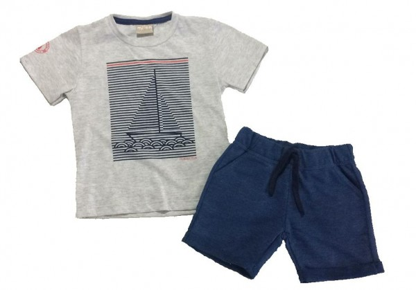 Imagem - Conjunto Milon Bermuda Moletom e Camiseta Barco cód: 14673033