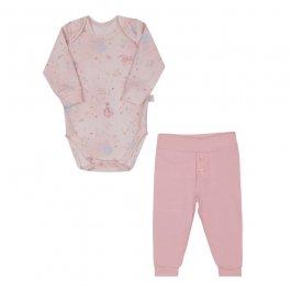 Imagem - Kit Bebê Body e Calça Letut Rosa  cód: 17023003