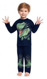 Imagem - Pijama Infantil Dinossauro Kyly Brilha do Escuro Marinho cód: 17192006