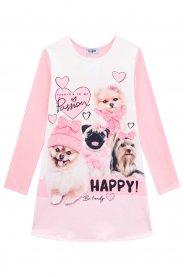 Imagem - Vestido Infantil Dogs Rosa Kukiê cód: 17033003