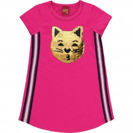 Imagem - Vestido Infantil Gato C/ Lantejoulas Reversivel Kyly cód: 17558012