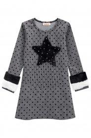 Imagem - Vestido Kukiê com Estrela e Pelo nas Mangas cód: 16015014