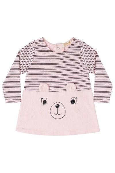 Imagem - Vestido Kukiê Rosa Claro Listrado com Frente de Urso cód: 15195003