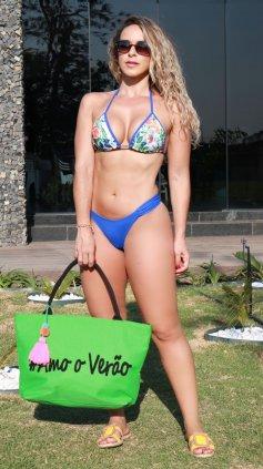Imagem - Biquini Garota Do Mar Com Bojo Cortininha Fio Dental  - azul