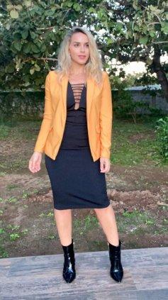 Imagem - Blazer Mina Maxi Alongado - Amarelo