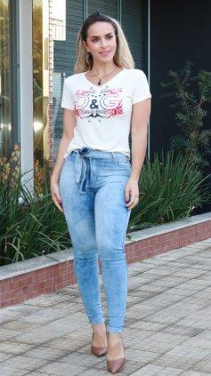 Imagem - Blusa T-shirt Estampada Silk - Off White