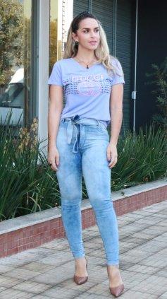 Imagem - Blusa T-shirt Estampada Silk - Lilas