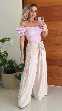 Imagem - Blusa Cropped Ombro A Ombro Bufante - Rosa