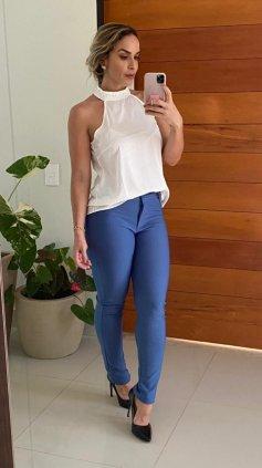 Imagem - Blusa Sem Mangas Com Pérolas - Branco