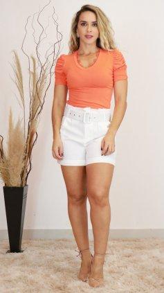 Imagem - Blusa Anne  T-shirt Feminina Com Renda Decote - Laranja