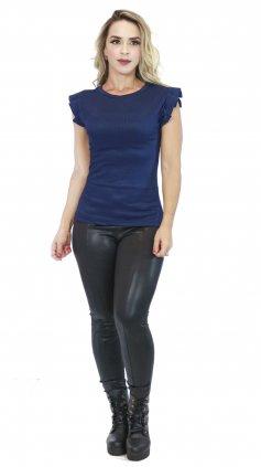Imagem - Blusa Malha Canelada Com Babados Nos Ombros - Azul Escuro