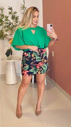 Imagem - Blusa Alongada Plus Tecido - Verde