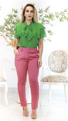 Imagem - Blusa Exclusiva Renda Com Chiffon  - Verde