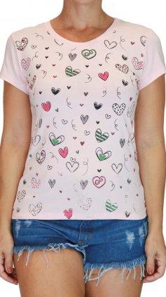Imagem - Blusa Feminina Tshirt Estampas Varias Cores - Rosa Claro