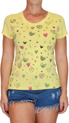 Imagem - Blusa Feminina Tshirt Estampas Varias Cores - Amarelo