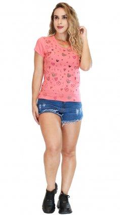 Imagem - Blusa Feminina Tshirt Estampas Varias Cores - Salmao