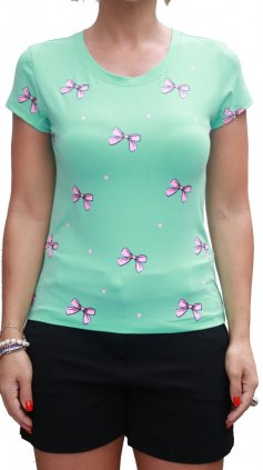 Imagem - Blusa Glamour Estampada Lacinhos PV20 - Verde Claro