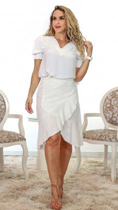 Imagem - Blusa Gola V Branca - Branco