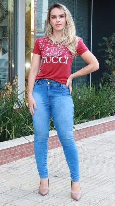 Imagem - Blusa T-shirt Estampada Silk - Vermelho