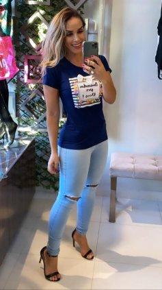 Imagem - Blusa T-shirt Estampada - Azul Escuro