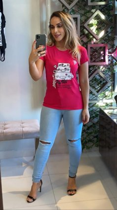 Imagem - Blusa T-shirt Estampada - Rosa