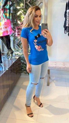 Imagem - Blusa T-shirt Estampada - Azul