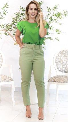 Imagem - Calça Alfaiataria Lisa Com Cinto - Verde Claro