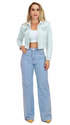 Imagem - Calça Feminina Jeans Pantalona Wide Leg Cós Alto - Jeans Claro