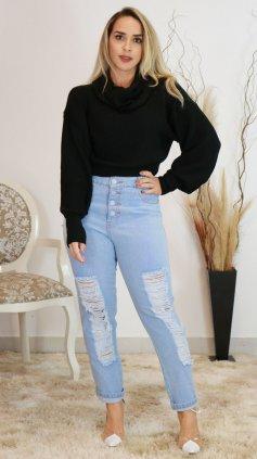 Imagem - Calça Feminina Mom Jeans Destroyed - Jeans Claro