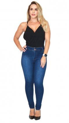 Imagem - Calça Jeans Cós Alto - Jeans Escuro