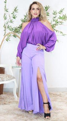 Imagem - Calça Pantalona Com Fenda Lateral - Lilas