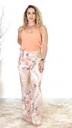 Imagem - Calça Pantalona Estampada - Rosa Claro