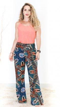 Imagem - Calça Pantalona Estampada - Preto Floral